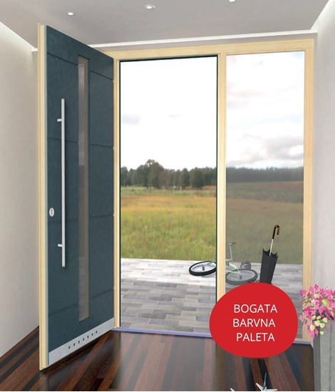 Lesena vhodna vrata v kombinaciji les - aluminij