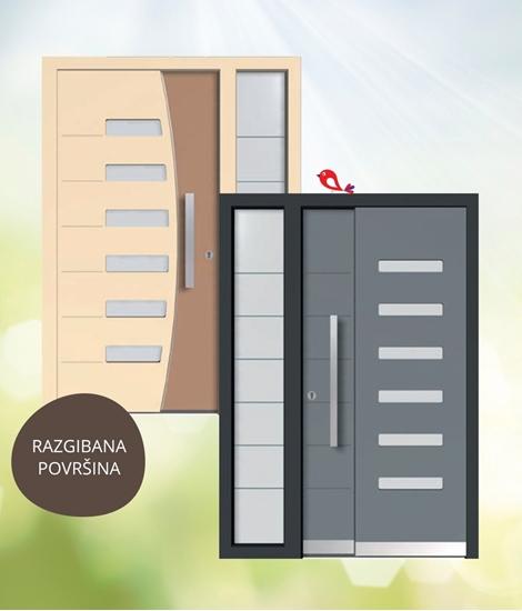 Lesena vhodna vrata s 3D učinkom