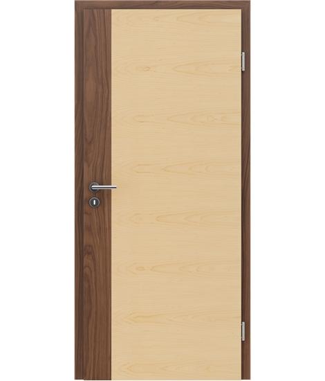 Furnirana notranja vrata s pokončno in/ali prečno strukturo VIVACEline - F5 oreh vstavek javor