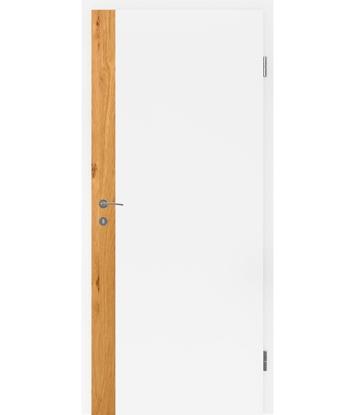 Belo pleskana notranja vrata s furniranimi vstavki BELLAline - F5R33L belo pleskano, vstavek hrast grča z utorom