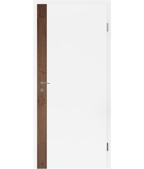 Belo pleskana notranja vrata s furniranimi vstavki BELLAline - F5R33L belo pleskano, vstavek oreh z utorom