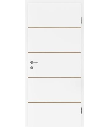 Picture of Belo pleskana notranja vrata s furniranimi vstavki BELLAline - FN1 belo pleskano, vstavek hrast