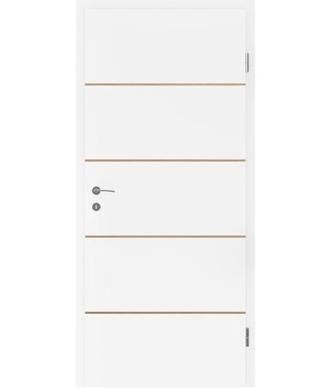 Belo pleskana notranja vrata s furniranimi vstavki BELLAline - FN1 belo pleskano, vstavek hrast