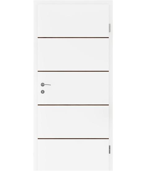 Belo pleskana notranja vrata s furniranimi vstavki BELLAline - FN1 belo pleskano, vstavek oreh
