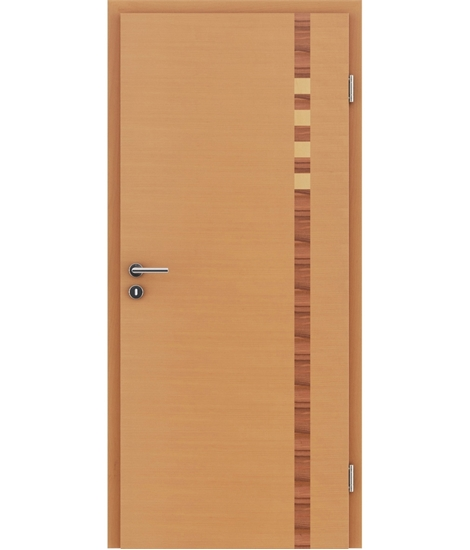 Furnirana notranja vrata z intarzijskimi vstavki HIGHline - I17 bukev, intarzijski vstavek indijsko jabolko in javor