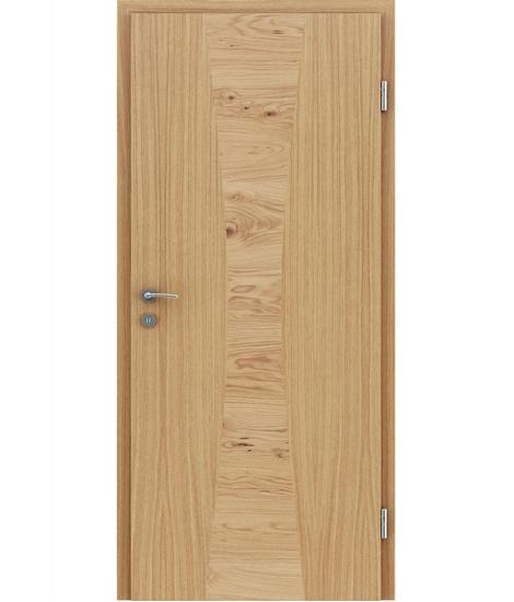 Furnirana notranja vrata z intarzijskimi vstavki HIGHline - I35 hrast evropski vstavek hrast grča
