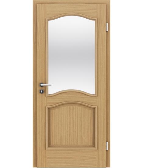 furnirana notranja vrata z okrasnimi letvicami in steklom - NAPOLEON STILline - SNC SN3 hrast evropski