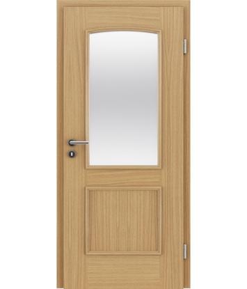 furnirana notranja vrata z okrasnimi letvicami in steklom STILline - SOA SO3 hrast evropski