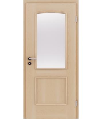 furnirana notranja vrata z okrasnimi letvicami in steklom STILline - SOA SO3 javor