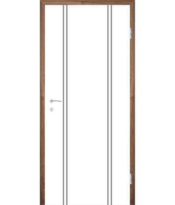 Belo pleskana notranja vrata z utori COLORline - MODENA R12L