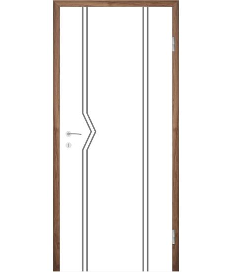 Belo pleskana notranja vrata z utori COLORline - MODENA R13L