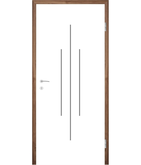 Belo pleskana notranja vrata z utori COLORline - MODENA R22L