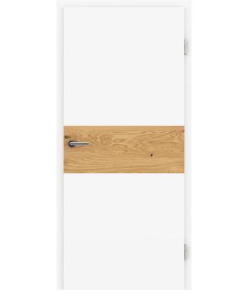 Picture of Belo pleskana notranja vrata s furniranimi vstavki BELLAline - I39R72L belo pleskano, vstavek hrast grča z utorom