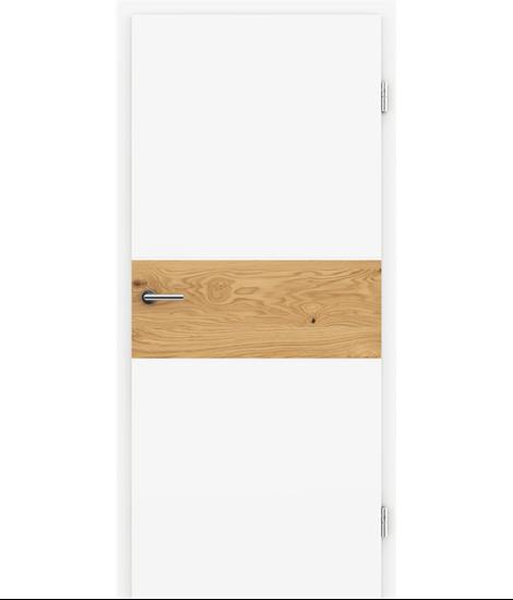 Belo pleskana notranja vrata s furniranimi vstavki BELLAline - I39R72L belo pleskano, vstavek hrast grča z utorom
