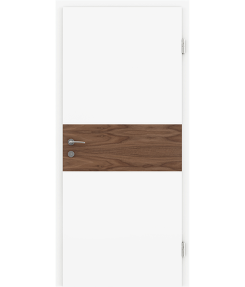 Belo pleskana notranja vrata s furniranimi vstavki BELLAline - I39R72L belo pleskano, vstavek oreh z utorom
