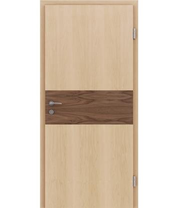 Furnirana notranja vrata z intarzijskimi vstavki HIGHline - I39 javor vstavek oreh